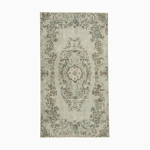 Grey Antique Handwoven Low Pile Overdyed Carpet