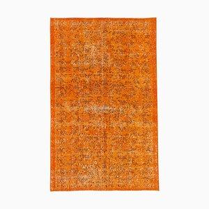 Orangenfarbener Anatolischer Handgeknüpfter Vintage Teppich aus Wolle