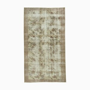 Overdyed Green Anatolian Hand Knotted Small Carpet