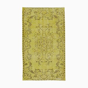 Small Vintage Yellow Overdyed Wool Carpet