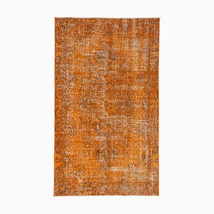 Orange Antique Handwoven Low Pile Overdyed Carpet
