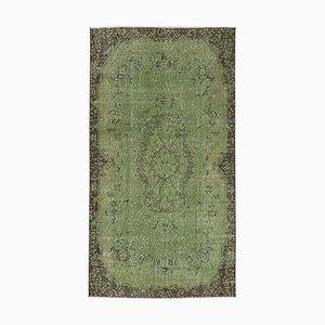 Green Turkish Handmade Wool Overdyed Carpet