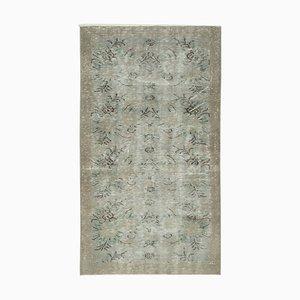 Grey Oriental Handwoven Low Pile Overdyed Carpet
