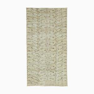 Vintage Turkish Handmade Green Wool Carpet