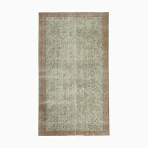 Beige Anatolian Hand Knotted Wool Vintage Carpet