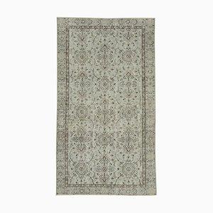 Vintage Turkish Handmade Grey Wool Carpet