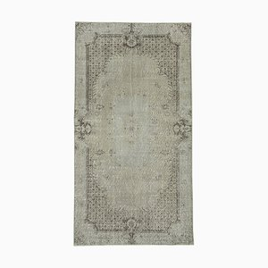 Small Vintage Grey Overdyed Wool Carpet