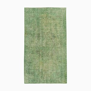Small Vintage Green Overdyed Wool Carpet
