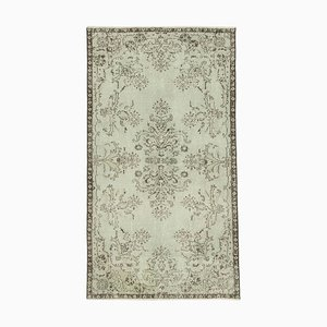 Grey Anatolian Hand Knotted Wool Vintage Carpet
