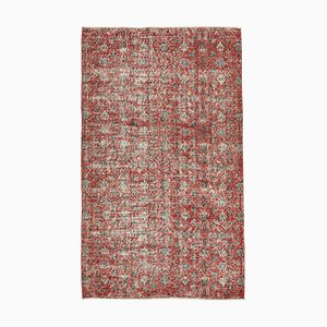 Small Vintage Red Overdyed Wool Carpet