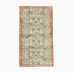Wool Green Vintage Turkish Handmade Carpet