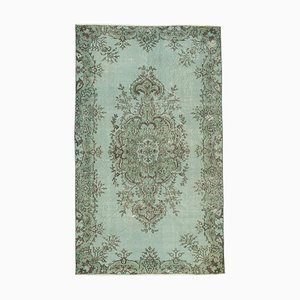 Blue Anatolian Hand Knotted Wool Vintage Carpet