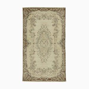 Vintage Turkish Handmade Beige Wool Carpet