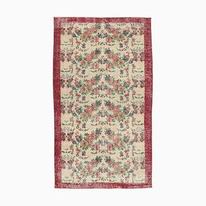 Red Anatolian Hand Knotted Wool Vintage Carpet