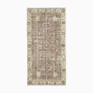 Vintage Turkish Handmade Yellow Wool Carpet