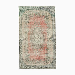 Small Vintage Beige Overdyed Wool Carpet
