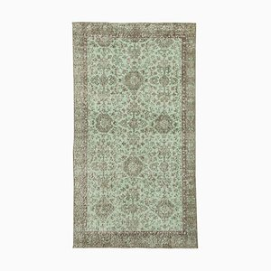 Green Anatolian Hand Knotted Wool Vintage Carpet