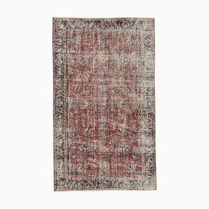 Vintage Turkish Handmade Red Wool Carpet