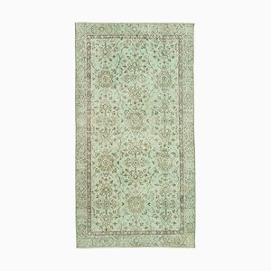 Green Antique Handwoven Low Pile Overdyed Carpet
