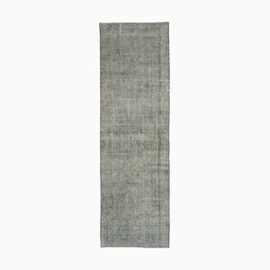 Grey Anatolian Handmade Wool Overdyed Runner Carpet