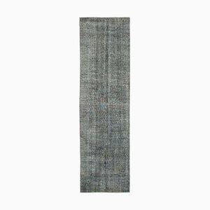 Grey Oriental Handwoven Antique Overdyed Runner Carpet