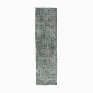 Grey Traditional Hand Knotted Wool Overdyed Runner Carpet