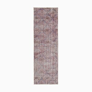 Pink Traditional Handwoven Antique Overdyed Runner Carpet