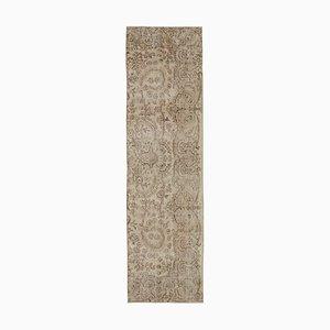 Beige Traditional Handmade Wool Overdyed Runner Carpet