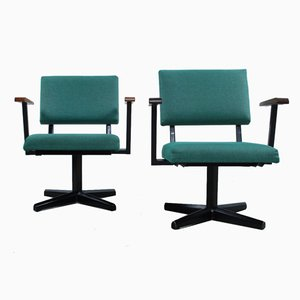 Teal Fabric Easy Chairs, 1960s, Set of 2