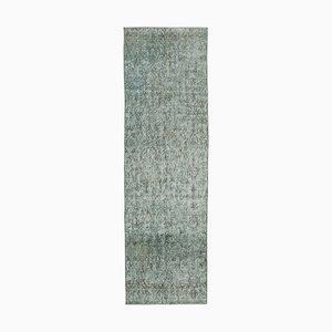 Grey Traditional Handmade Wool Overdyed Runner Carpet