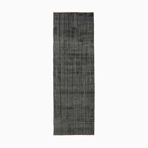 Black Decorative Hand Knotted Wool Overdyed Runner Carpet