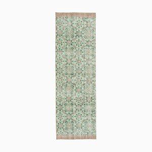 Beige Turkish Handwoven Antique Overdyed Runner Carpet