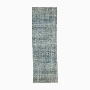 Blue Traditional Hand Knotted Wool Overdyed Runner Carpet