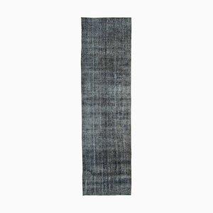 Grey Anatolian Handwoven Antique Overdyed Runner Carpet