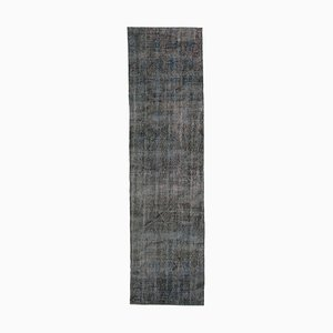 Grey Antique Hand Knotted Wool Overdyed Runner Carpet