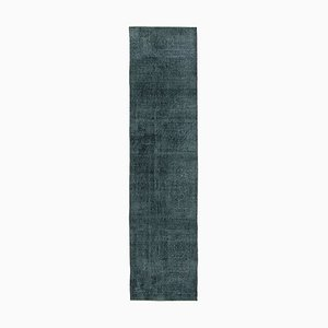 Black Anatolian Handmade Wool Overdyed Runner Carpet