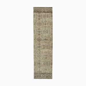 Beige Anatolian Handwoven Antique Overdyed Runner Carpet