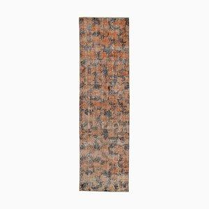 Handgeknüpfter anatolischer orangener Teppich aus handgewebter Wolle in Orange
