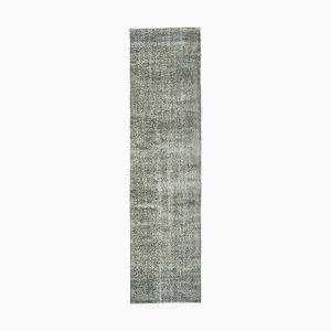 Grey Turkish Handmade Wool Overdyed Runner Carpet