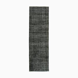Handgeknüpfter schwarzer handgewebter Läufer aus Wolle
