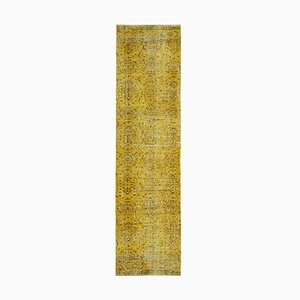 Yellow Turkish Hand Knotted Wool Overdyed Runner Carpet