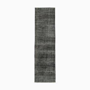 Black Oriental Handwoven Antique Overdyed Runner Carpet