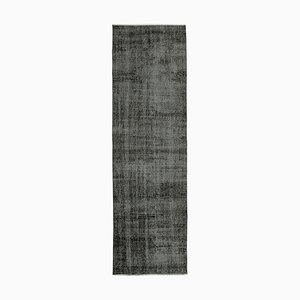 Black Oriental Hand Knotted Wool Overdyed Runner Carpet