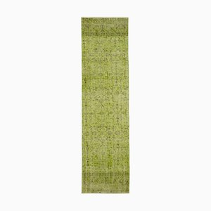 Green Oriental Handwoven Antique Overdyed Runner Carpet