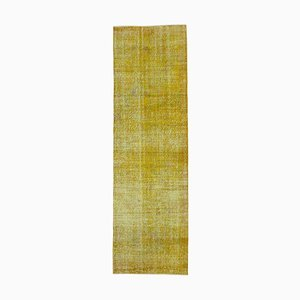 Yellow Decorative Hand Knotted Wool Overdyed Runner Carpet