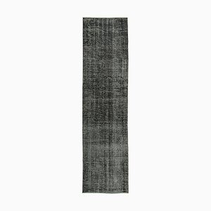 Schwarzer handgeknüpfter Teppich aus Wolle und eingefärbtem Läufer