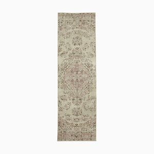 Beige Turkish Handmade Wool Overdyed Runner Carpet