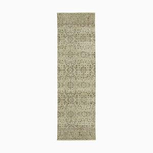 Beige Oriental Handmade Wool Overdyed Runner Carpet