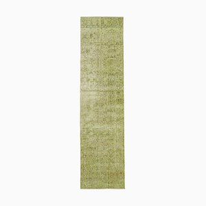 Green Oriental Hand Knotted Wool Overdyed Runner Carpet
