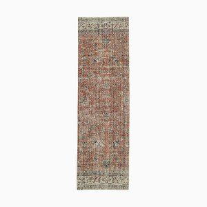 Red Antique Hand Knotted Wool Overdyed Runner Carpet